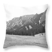 Flatirons Boulder Colorado Winter View Bw Throw Pillow
