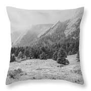 Flatirons In Winter - Black And White Throw Pillow