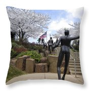 Fleeting Spring At The Arena Throw Pillow