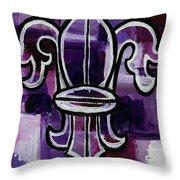 Fleur De Lis Purple Abstract Throw Pillow