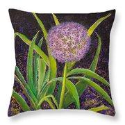 Fleur D Allium With Iris Leaves Backup Throw Pillow