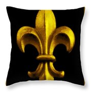 Fleur De Lis In Black And Gold Throw Pillow