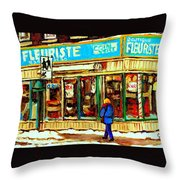 Fleuriste Notre Dame Flower Shop Paintings Carole Spandau Winter Scenes Throw Pillow
