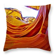 Flexibility Rock In Lower Antelope Canyon Near Page-arizona  Throw Pillow