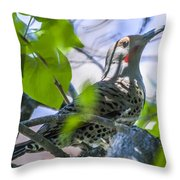 Flicker In The Lilacs Throw Pillow
