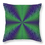 Flight Of Fancy Fractal In Green And Purple Throw Pillow