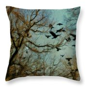 Flight Of The Forest Crows Throw Pillow