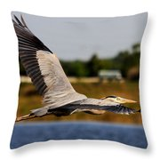 Flight Of The Great Blue Heron Throw Pillow