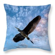 Flight Of The Heron Throw Pillow