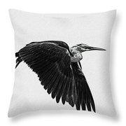 Flight Of The White Necked Heron V2 Throw Pillow