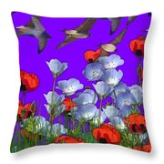 Flight Over Poppies Throw Pillow