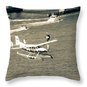 Flight- Landing In The Bay Throw Pillow