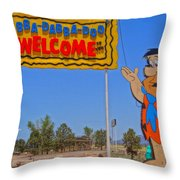 Flinstones Bedrock City In Arizona Throw Pillow