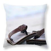 Flip-flops On Beach Throw Pillow