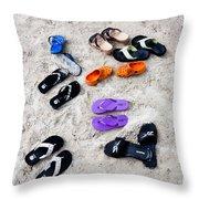 Flip Flops On The Beach Throw Pillow