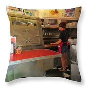 Flippin Burgers In The Diner Throw Pillow