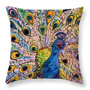 Flirty Peacock Throw Pillow