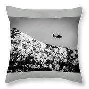 Float Plane Over The Mountain Throw Pillow