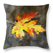 Floating Autumn Leaf Throw Pillow
