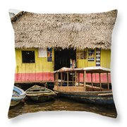 Floating Bar In Shanty Town Throw Pillow