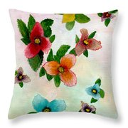 Floating Buds Throw Pillow