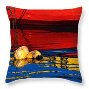 Floating Buoys And Reflections Throw Pillow