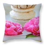 Floating Camellias Throw Pillow
