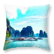 Floating In Ha Long Throw Pillow