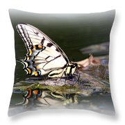 Floating In Water - Swallowtail -butterfly Throw Pillow