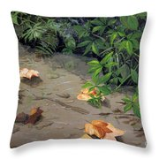 Floating Leaves By George Wood Throw Pillow