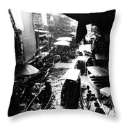 Floating Markets In Black And White Throw Pillow