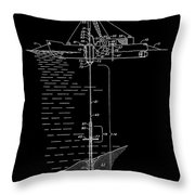 Floating Oil Rig Patent Throw Pillow