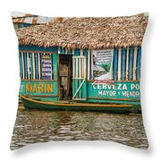 Floating Pub In Shanty Town Throw Pillow