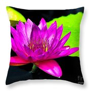 Floating Purple Water Lily Throw Pillow
