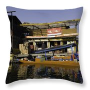 Floating Shop Along With Another Shop On Floats In The Dal Lake Throw Pillow
