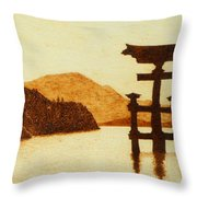 Floating Torii Gate Throw Pillow