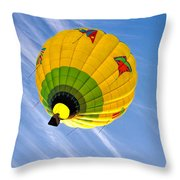 Floating Upward Hot Air Balloons Throw Pillow