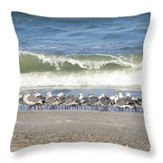 Flock And Wave Throw Pillow
