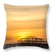 Flock Of Starlings Over The West Pier In Brighton Throw Pillow
