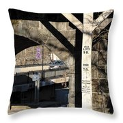 Flood Height Sign At Ellicott City Maryland Throw Pillow