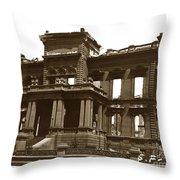 James Clair Flood Mansion Atop Nob Hill San Francisco Earthquake And Fire Of April 18 1906 Throw Pillow