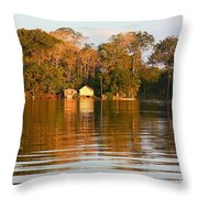 Flooded Amazon With Houses Throw Pillow