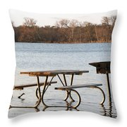 Flooded Park Bench Lunch Throw Pillow