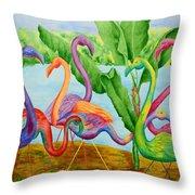 Floosie Flamingos Throw Pillow