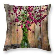 Flora Vase In Hdr Throw Pillow