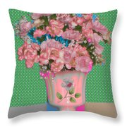 Flora With Purple And Green Throw Pillow
