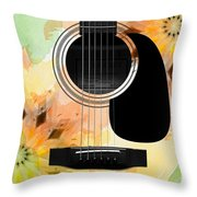 Floral Abstract Guitar 14 Throw Pillow