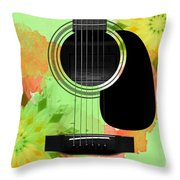 Floral Abstract Guitar 15 Throw Pillow