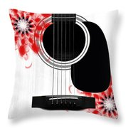 Floral Abstract Guitar 33 Throw Pillow