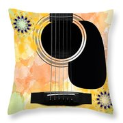 Floral Abstract Guitar 37 Throw Pillow